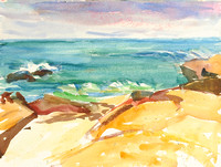 Rocky Shore - watercolor on paper, early 2000s